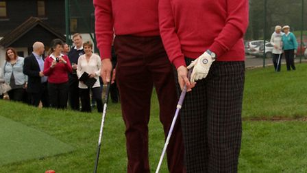 Sidmouth golf club new season drive-in. The new captains, Ray Gunston and Angela Coles. Ref shsp 04-