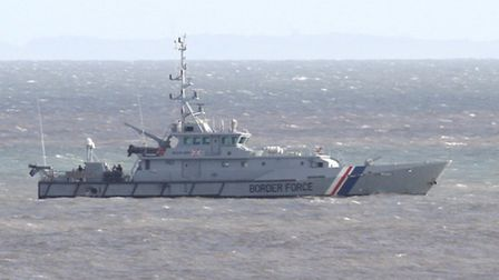 The UK Border Force conducted manoeuvres off Beer this week. Ref shb 3130-04-16SH. Picture: Simon Ho