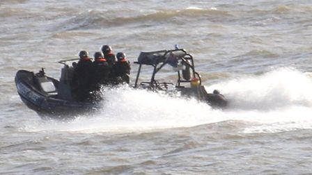 The UK Border Force conducted manoeuvres off Beer this week. Ref shb 3122-04-16SH. Picture: Simon Ho