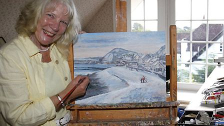 Margaret Adams with the painting that will be used for a christmas card charity. Ref shs 3699-39-15T
