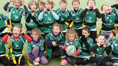 Sidmouth RFC Under-7s pull funny faces before their latest round of matches