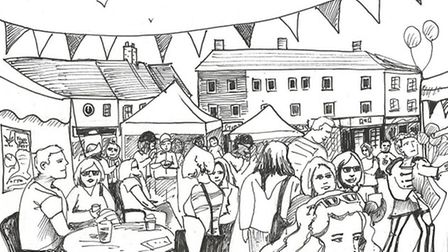 Artist's impression of car-free Ottery St Mary Food and Families Festival