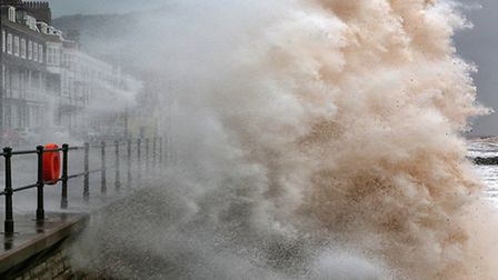 Huge waves pound the seafront at Sidmouth, Devon. Picture: Ian Williams.