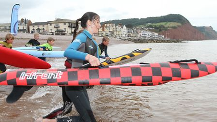 Members of the Sidmouth Surf Life Saving Club give a demonstration of their skills on Saturday. Phot