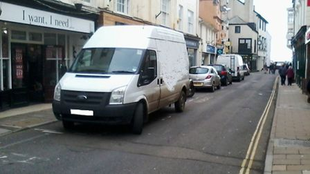 A delivery driver went the wrong way up Fore Street on Sunday