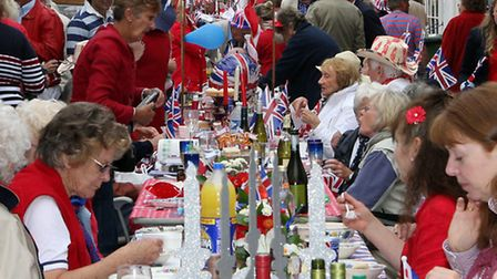 Sidmouth celebrated the Diamond Jubilee back in 2012 with a street party. Ref shs 6117-23-12TI. Pict