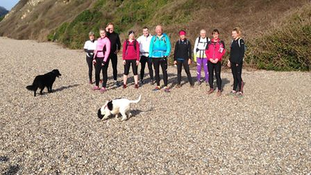 Sidmouth runners at the Axmouth to Sidmouth run