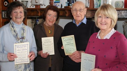 Kath White,Ursula Makepeace,George Baston and Fiona Peters with some of the historic programmes. Ref