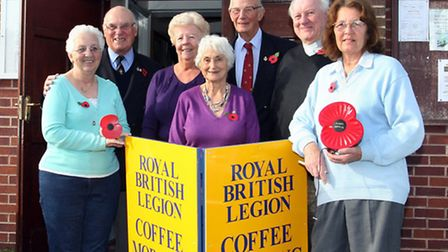 Lt Col Hedley Croft with members of the Sidbury and Sidford RBL at a coffee morning at Sidford socia