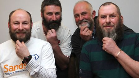 Hair Today-Jud Lascelles, Graham Sheppard, Alan Derryman and Rodney Cross before their charity beard