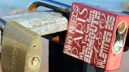 Padlocks on railings at Connaught Gardens with a loving message. Ref shs 7004-33-15AW. Picture: Alex