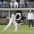 Sidmouth batsman Luke Bess is pictured playing against Exmouth at the Fortfield on Saturday. Photo b