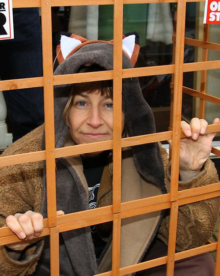 Sharon Howe of Exeter Friends For Animals makes a protest in Sidmouth against the use of animal fur