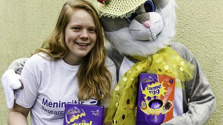 Laura Clode with the Easter bunny