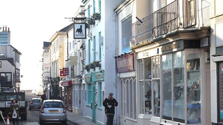 Shops in Fore Street, Sidmouth. Ref shs 7072-06-15SH. Photo Simon Horn
