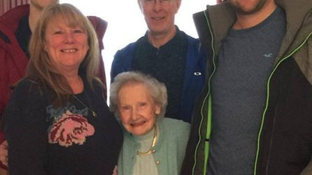 The family during a visit to Graham's Aunty Joyce last Saturday. From L-R James, Anne, Joyce, Graha