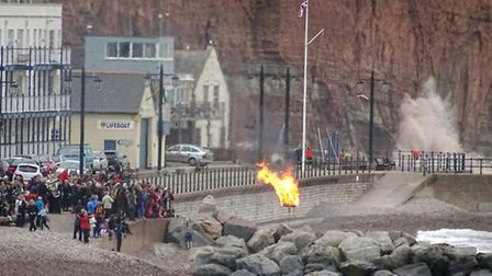 The seafront beacon to celebrated the Queen's 90th birthday viewed from Connaught Gardens and matche