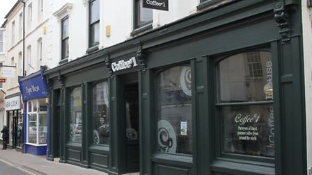 The fomrer Trump's shop on Fore Street now Coffee#1 nearing completion. Ref shs 12-16SH 7952. Pictur