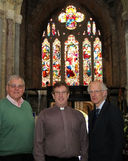 Rev Philip Bourne with fundraiser Philip Hughes (left) and churchwarden Brian Golding in the Sidmout
