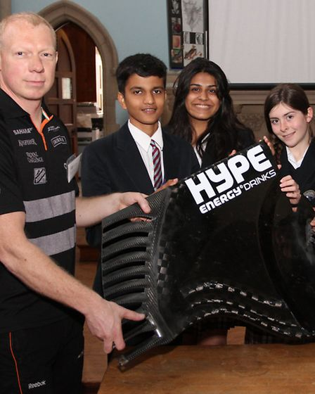 Rob Dunster-Ashworth a senior electronics engineer with the Force India Formula One team visited St