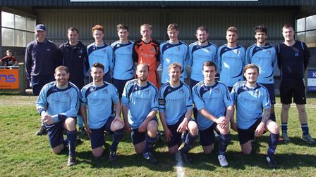 Beer Albion first team before their East Devon derby meeting with Honiton. Back row (left to right):