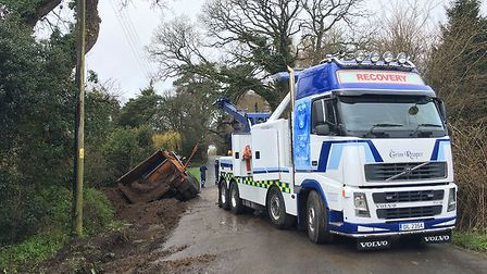 The overturned lorry on Exeter Road.