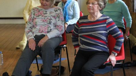 Keeping fit-Chair yoga is held at the Primley URC hall in Sidmouth. Ref shs 15-16SH 0442. Picture: S