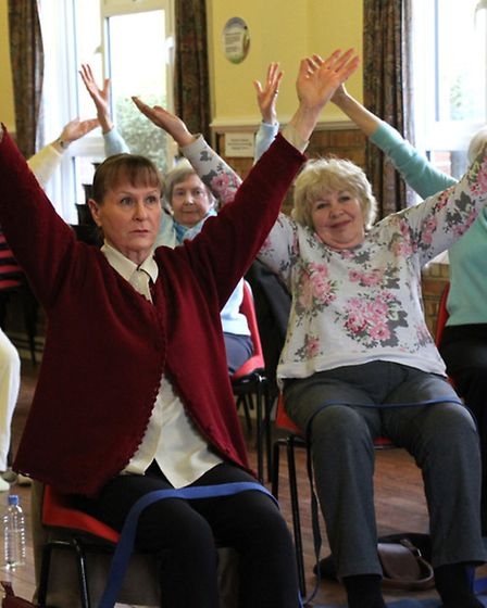 Keeping fit-Chair yoga is held at the Primley URC hall in Sidmouth. Ref shs 15-16SH 0438. Picture: S