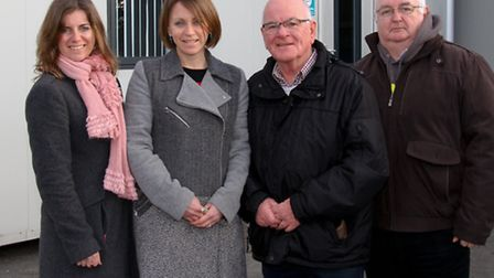 Claire Wright, Helen Harms, Glynn Dobson and Ian Holmes by the new portacabins at The Station. Ref s