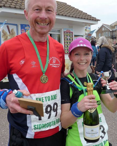 The first lady and the winner of the male over 50 awards at the Exe to Azxe race
