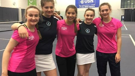 Sidmouth sisters Katie and Molly Wiltshire with their team mates from the Exeter College team