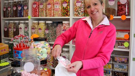 Karen Hill, owner of the new sweet shop in Ottery called Sweet Memories. Ref sho 13-16TI 8132. Pict