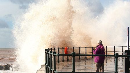 Stormy conditions caused some spectacular waves on Bank Holiday Monday. Ref shs 13-16SH 9390. Pictur