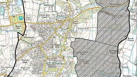 Proposed boundaries for the new West Hill Parish Council. The black outline is the boundary campaign