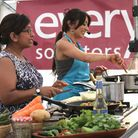 Saira Hamilton and Tina Chauhan-Challis demonstrating their skills at last year's Ottery St Mary Foo