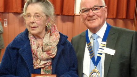 June Woodward was presented with Ottery's Citizen of the Year award by mayor Glyn Dobson