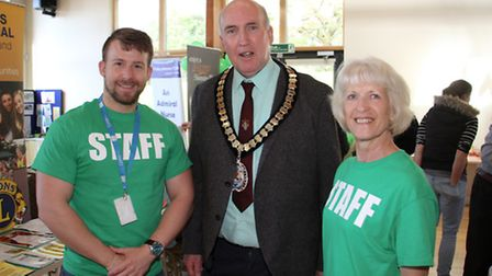 Aaron Clarke and Di Fuller with Stuart Hughes at the first ever healthy living festival. Ref shs 16-