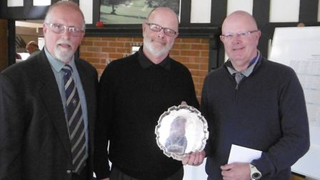 Sidmouth Open Winners (visitors') Colin and Andrew Brown of Oake Manor Golf Club being presented wit