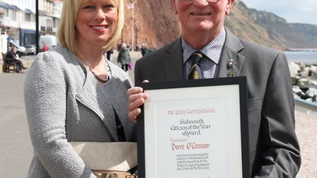 Sidmouth Citizen of the Year Dave O'Connor with his daughter Pauline Denning. Ref shs 17-16SH 2510.