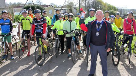 Glyn Dobson gets things started at The Rotary Club of Otter Valley's cycle ride. Ref sho 16-17TI 960