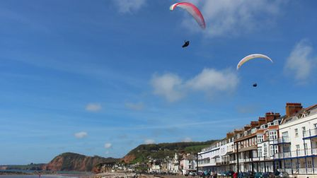 Parascenders over Sidmouth beach this week. Ref shs 18-16SH 0066. Picture: Simon Horn.