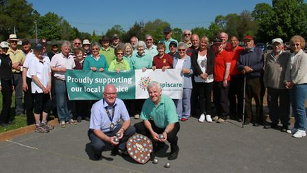 Members of the Ottery Petanque Club and players from further afield playing for the charity shield.