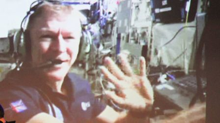 Astronaut Tim Peake makes contact with Kings School in Ottery. Ref sho 19-16TI 0630. Picture: Terry
