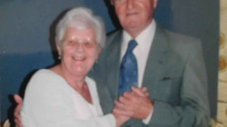 Margery and Peter Hoskins at their Golden Wedding anniversary