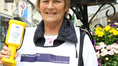Linda Archard from the Sidmouth Memory Cafe was out collecting for the Admiral Nurse Campaign. Ref s