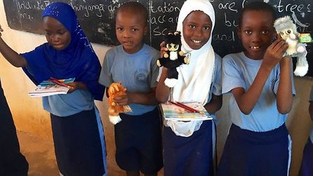 Hard working children at The Joy School in Tanzania have been given one of Andrew's Bush Babies as a