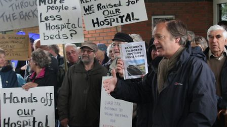 MP Hugo Swire visited Ottery St Mary hospital on Saturday where he spoke with protesters. Ref sho 21