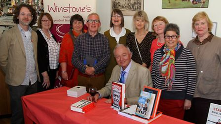 Former London mayor, Ken Livingstone, signing his book at Sidmouth Rugby Club. Ref shs 15-16AW 2697.