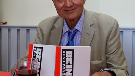 Former London mayor, Ken Livingstone, signing his book at Sidmouth Rugby Club. Ref shs 15-16AW 2702.