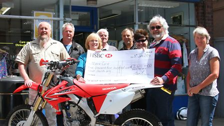Members from Devon Trail Riders Fellowship presented a cheque to Marie Curie, Sidmouth branch. Ref s